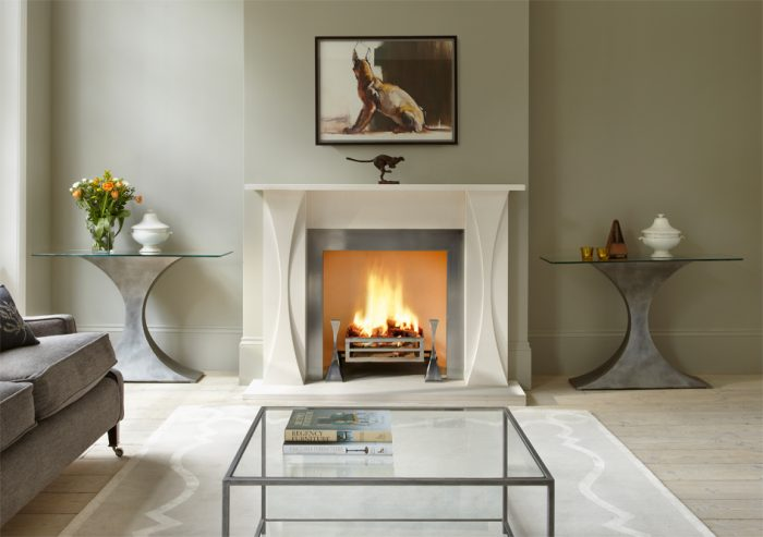 Chesneys Faulkner fireplace by Tom Faulkner with Faulkner fire dogs