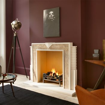 Chesneys Hulanicki Art Deco fireplace by Barbara Hulanicki with Fibonacci fire basket