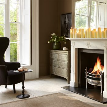 Chesneys Hulanicki Art Nouveau fireplace By Barbara Hulanicki with the Cadogan fire basket in steel