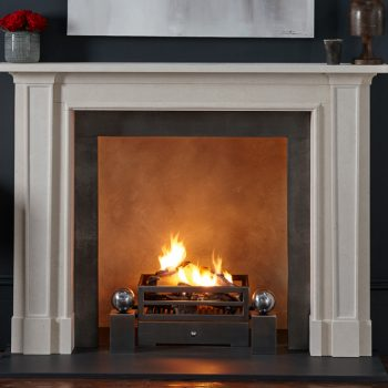 Chesneys Madison fireplace with the Soho fire basket with Spherical Steel fire dogs