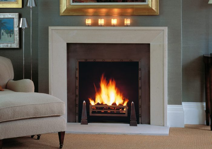 Chesneys Metro fireplace with Soho fire basket and Obelisk fire dogs