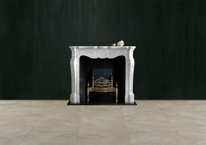 Chesneys Pompadour fireplace with the Osterley fire basket in brass