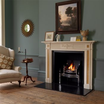 Chesneys Fitzroy fireplace with the Osterley fire basket in steel