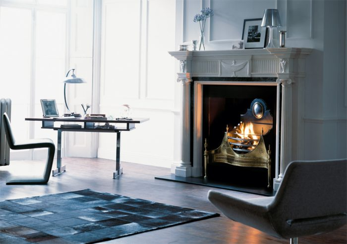Chesneys Northumberland fireplace with the Croome fire basket in brass