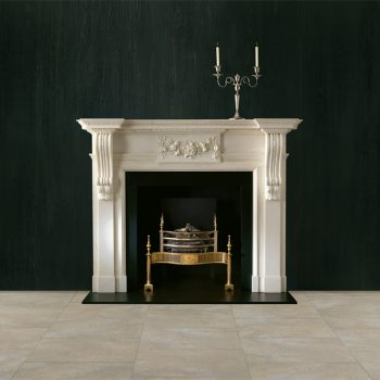 Chesneys Palladian fireplace with Syon fire basket in brass and Reeded cast iron interior panels