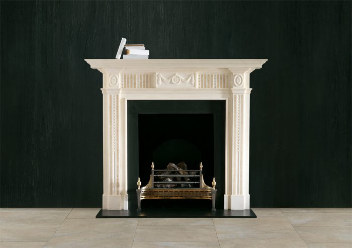 Chesneys Albemarle fireplace with the Dorchester fire basket in brass