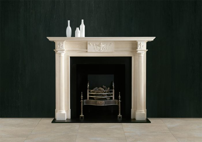 Chesneys Hartwell fireplace with the Syon fire basket in steel and Reeded cast iron interior panels