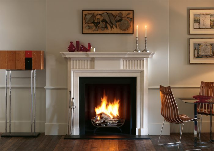 Chesneys Kedleston fireplace with the Morris freestanding fire basket and Reeded cast iron interior panels