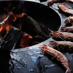 Ofyr cooking prawns hotplate