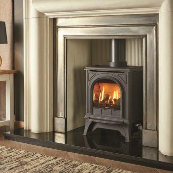 Stovax & Gazco Huntingdon 20 gas stove with matt black and clear door