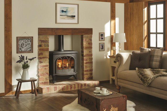 Stovax & Gazco Huntingdon 40 gas stove with matt black finish and tracery door