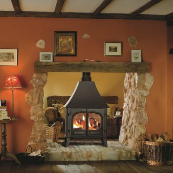 Stovax & Gazco Stockton 11 wood burning stove in matt black with high canopy