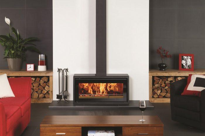 Stovax & Gazco Studio 2 Freestanding wood burning stove on plinth