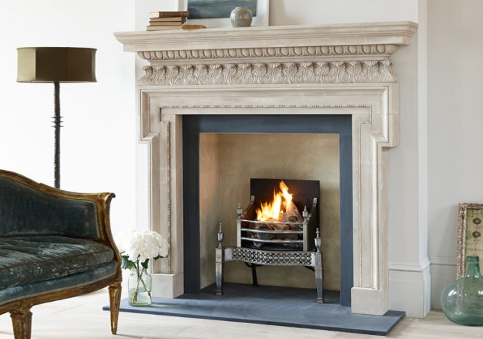 Chesneys Chichester fireplace with the Osterley fire basket in steel