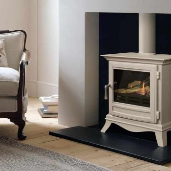 Chesneys Beaumont large gas stove with a parchment paint finish