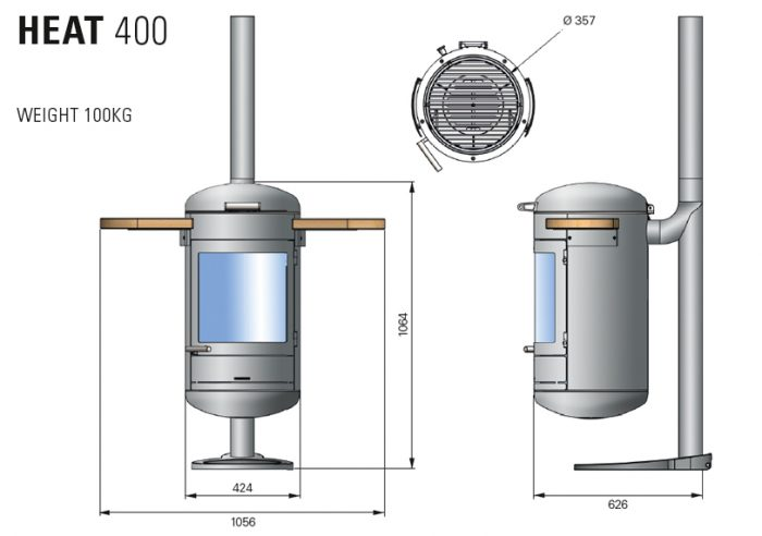 Chesneys HEAT Collection BBQ barbeque heater 400 diagram measurements