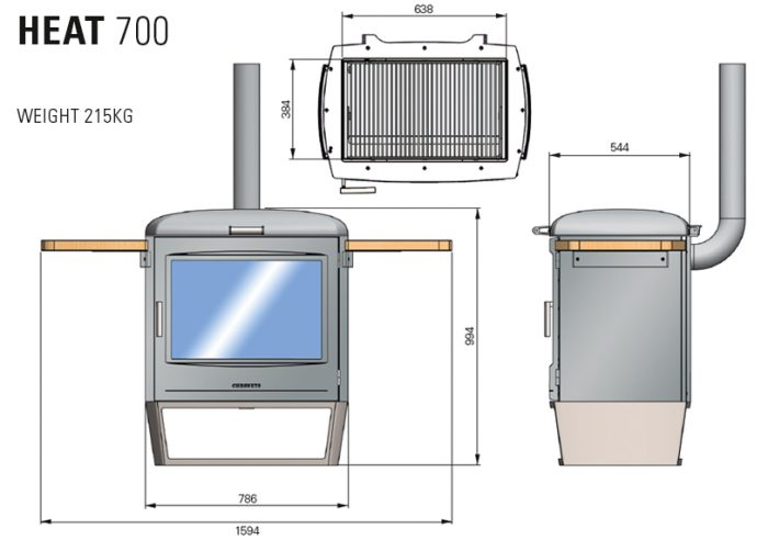 Chesneys HEAT Collection BBQ barbeque heater 700 diagram measurements
