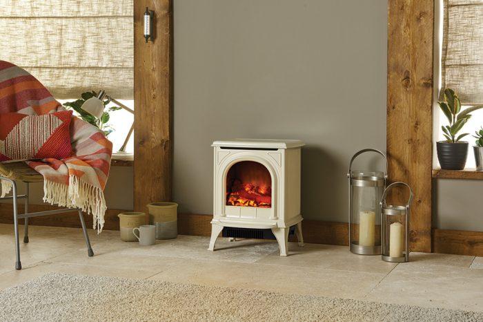 Stovax & Gazco Huntingdon 20 ivory enamel electric stove
