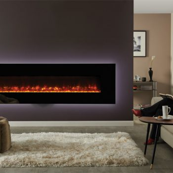 Stovax & Gazco Radiance 190W Black Glass electric fire with clear crushed glass beads