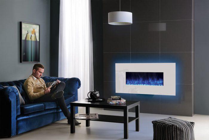 Stovax & Gazco Radiance 80W white glass blue glow electric fire