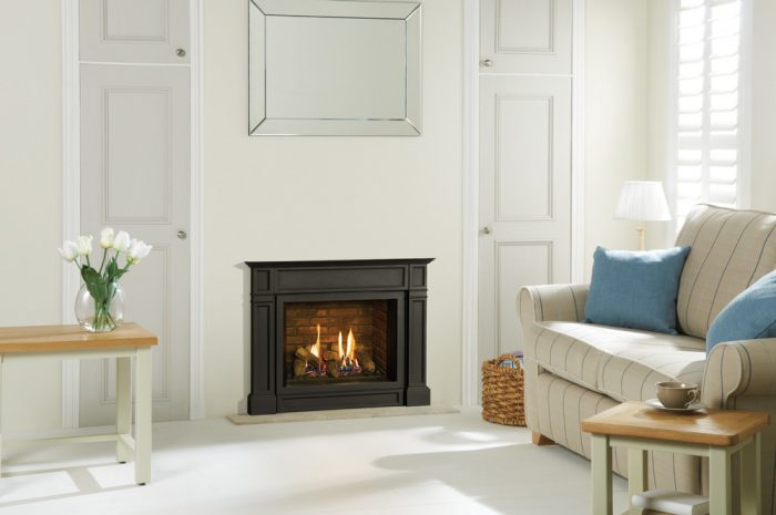 Stovax & Gazco Riva2 500 Ellingham gas fire with brick-effect lining