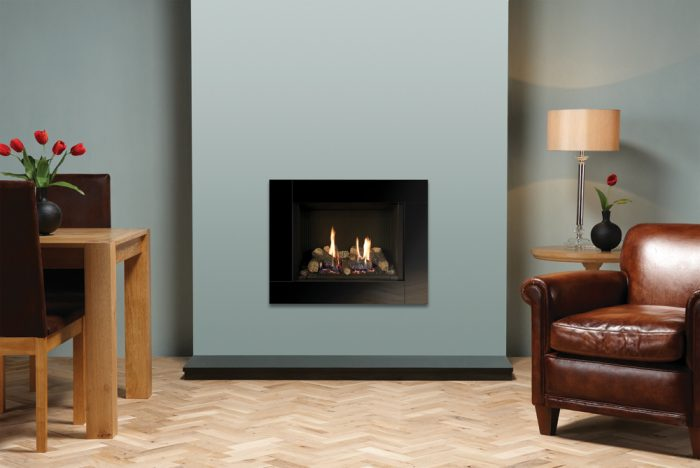 Stovax & Gazco Riva2 500 Icon XS black reeded lining gas fire