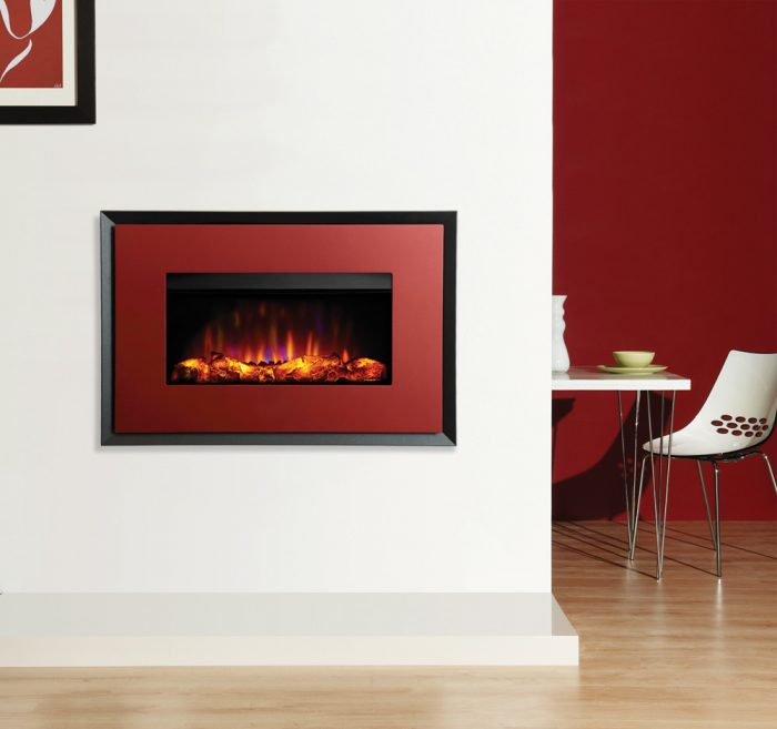 Stovax & Gazco Riva2 670 Evoke Steel metallic red graphite rear electric fire