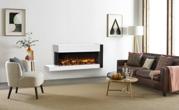 Stovax & Gazco Skope Outset 110kw right offset Trento Suites log and pebble effects electric fire