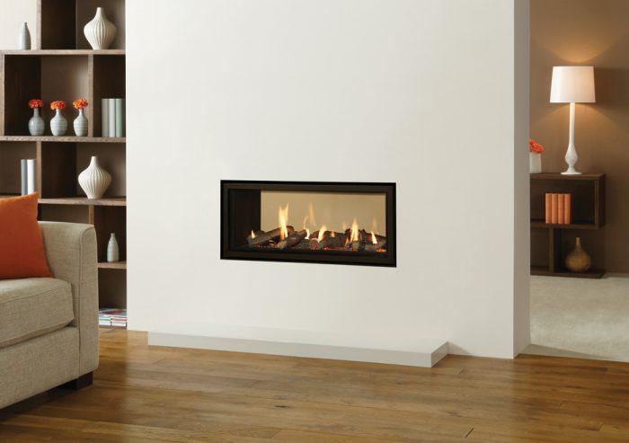 Stovax & Gazco Studio 2 Duplex double-sided black reeded lining Edge gas fire