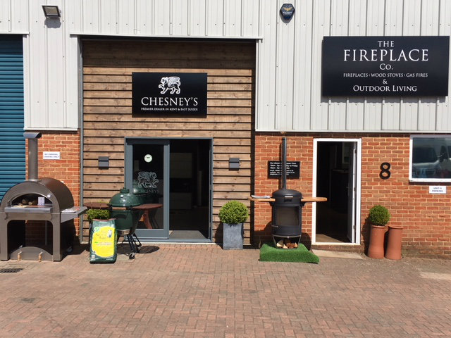 Chesneys BBQ heaters, shortlisted for award at Chelsea, in showroom