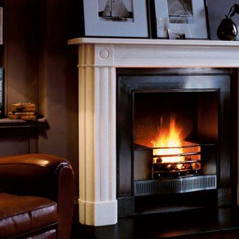 Chesneys Marble Regency Bullseye fireplace with the Cubitt register grate