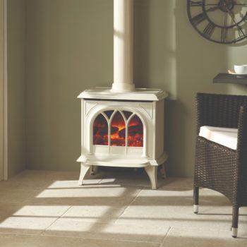 Stovax & Gazco Huntingdon 30 enamel electric stove with tracery door and decorative flue
