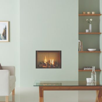 Stovax & Gazco Riva2 500 Edge gas fire with vermiculite lining