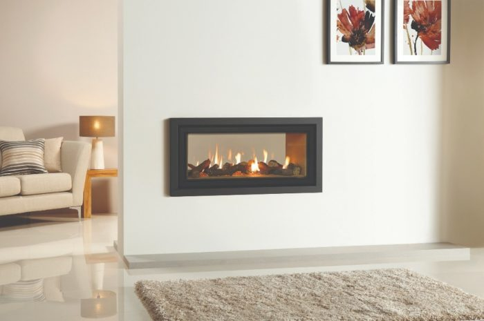 Stovax & Gazco Studio 2 gas fire Duplex double sided, Profil frame, anthracite finish and vermiculite lining