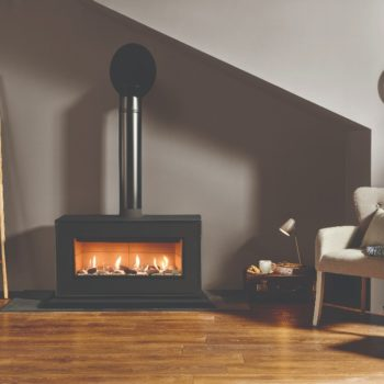 Stovax & Gazco Studio 2 freestanding gas fire, black finish, pebbles and stones effect, vermiculite lining and plinth