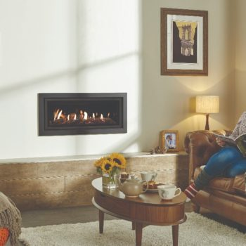 Stovax & Gazco Studio 2 gas fire Profil frame, anthracite finish and black glass lining