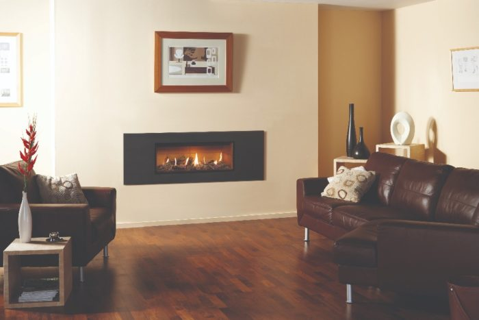Stovax & Gazco Studio 2 gas fire Steel 2 frame, graphite finish, driftwood effect and vermiculite lining
