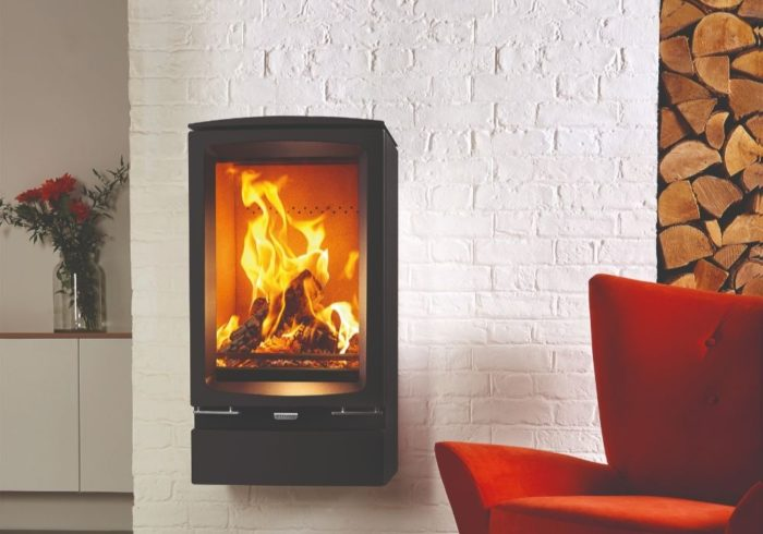 Stovax & Gazco Vogue Midi T wood burning stove wall hung