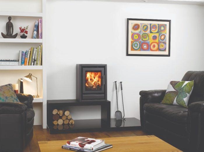 Stovax & Gazco Riva F40 Freestanding wood burning stove in metallic black on high bench