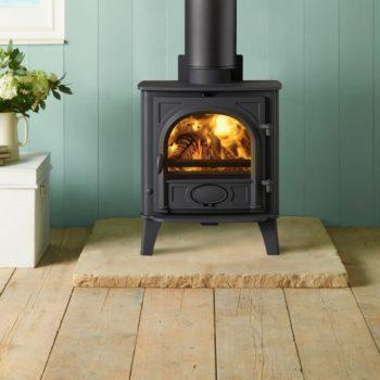 Stovax & Gazco Stockton 5 wood burning stove in matt black with flat top