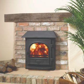 Stovax & Gazco Stockton 7 Inset Convector wood burning stove in matt black with canopy