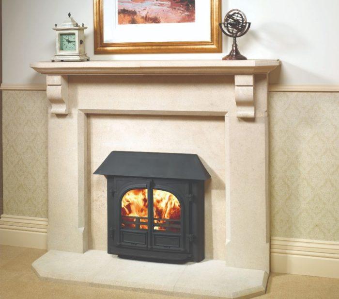Stovax & Gazco Stockton 8 Inset Convector wood burning stove in matt black with canopy