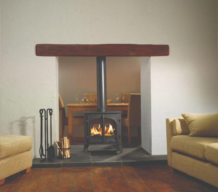 Stovax & Gazco Stockton 8 Double Sided wood burning stove in matt black with flat top