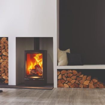 Stovax & Gazco Vogue Midi T wood burning stove with plinth