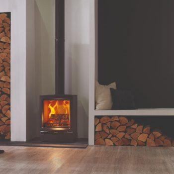 Stovax & Gazco Vogue Midi wood burning stove with plinth